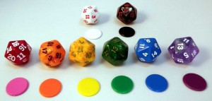 Colored dice and marker dots