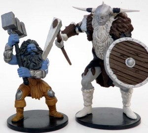 "Large storm giant and huge frost giant, both on large, 2"" by 2""  bases"